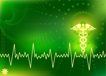 medical abstract: green medical background with medical signs and abstract shapes