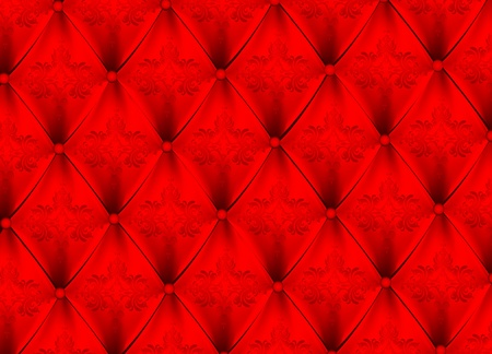 Red satin upholstery pattern with ornament design Vector