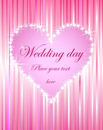 shiny pink heart wedding card on shiny pink abstract background Vector