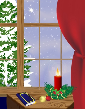 winter inside a warm house with mistletoe , red curtain and candle Vector