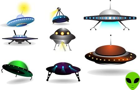 espacio colección de coloridos diversos platillos voladores Ilustración de vector