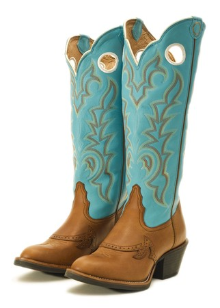 leather boots: A pair of cowboy boots on white