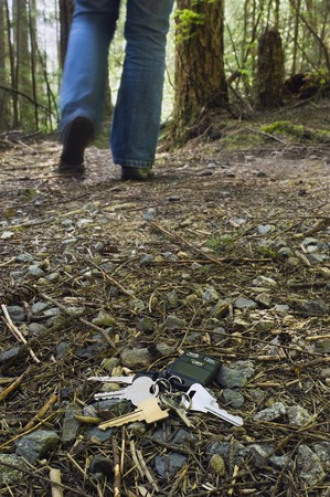 A set of house and car keys lay on the forest floor as a person walks away.