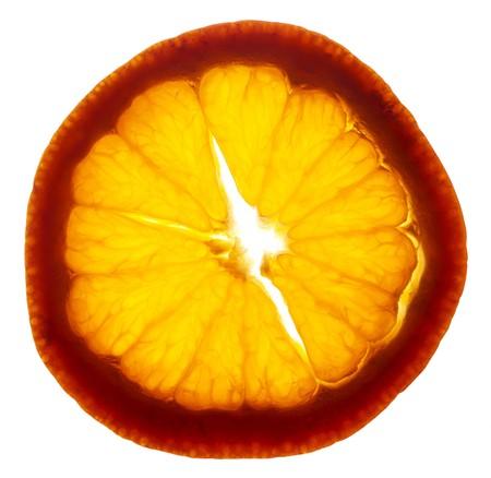 Reif Tangerine Slice Hintergrundbeleuchtung. Standard-Bild - 7186577