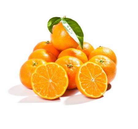 fresh mandarins with leaf isolated on white background photo