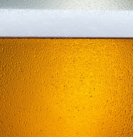 detail of beer in dewy glass photo