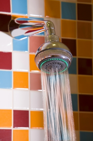Shower with running water