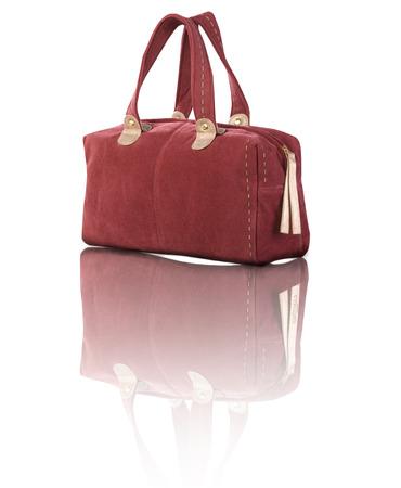 corduroy: velluto rosso borsetta isolato su sfondo bianco