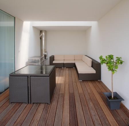 현대 집의 테라스 스톡 콘텐츠
