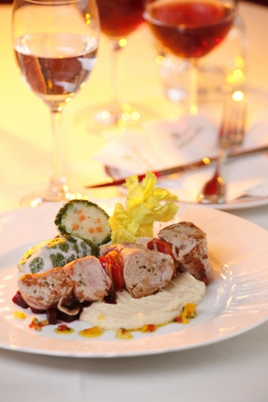 luxuriously: delicious pork luxuriously  served on white plate