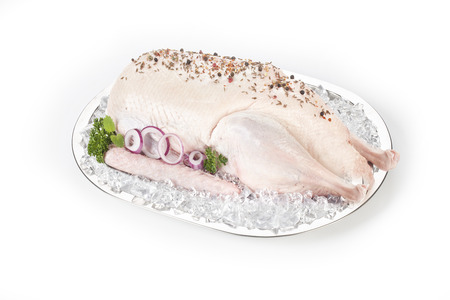 fresh decorated poultry on ice