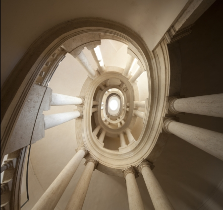 view of spiral staircase , The famous helicoidal staircase by Borromini. Italy , Roma , Palazzo Barberini
