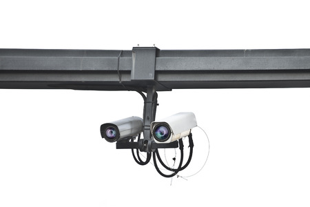 ensures: ensures security camera mounted on a pole on white background