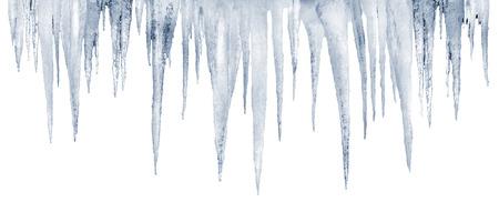 photoshop: aantal natuurlijke ijspegels op een witte achtergrond met opgeslagen photoshop knippen weg Stockfoto
