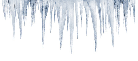 icicles: number of natural icicles on a white background with saved photoshop clipping path Stock Photo