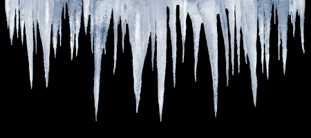 number of natural icicles on a black background Stock fotó