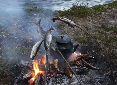 coffee breaks: fishing break, tea time with fish nature roast on fire