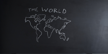 school blackboard with world map photo