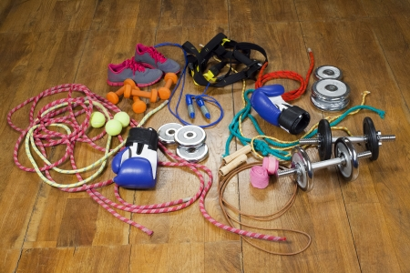 gym equipment on the wooden floor photo