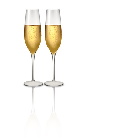 champagne glasses or sparklig wine on white photo