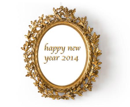 황금 거울 행복한 새해 2014