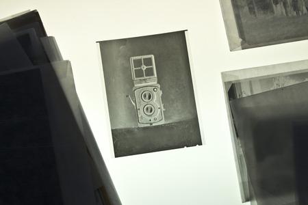 Twin-lens reflex camera on negative material photo