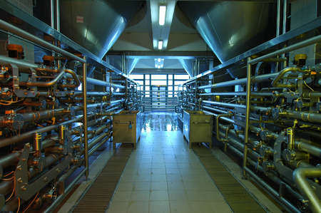 conveyors: industry interior with lot of pipe ... Stock Photo