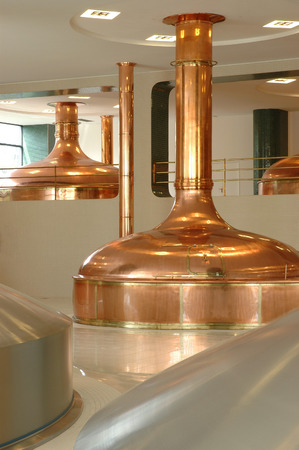 big pot brewery boiler beer made from  copper photo