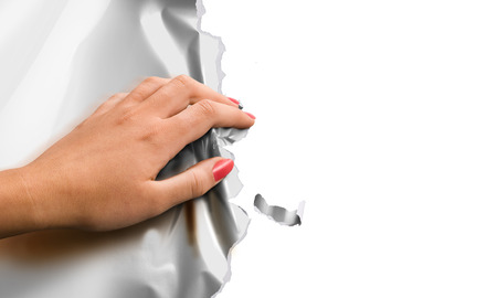 scrunch: womans hand scrunch paper poster