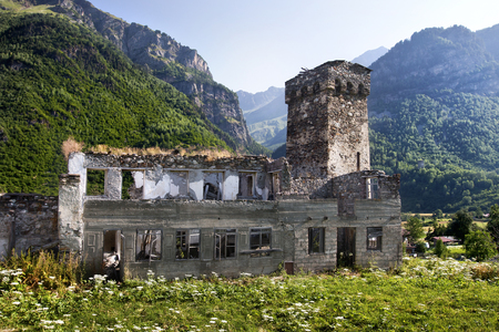 svaneti: Georgian Svaneti towers and ruin defensive system medieval age