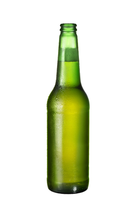 dew cap: one bottle of fresh beer isolated on white background with cut path Stock Photo