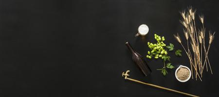 ビール大麦と、黒の背景に緑の新鮮なホップ