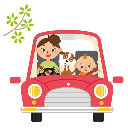 small size: madre ir a buscar el beb� y un perro Vectores