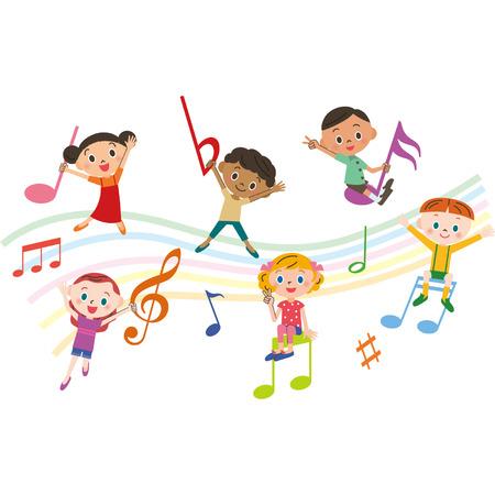 niños con las notas musicales Vectores