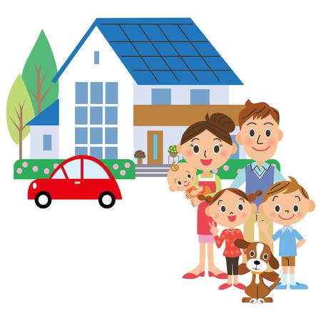 perro familia: Una familia casa y