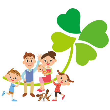 family with dog: A clover and family of, four leaves Illustration