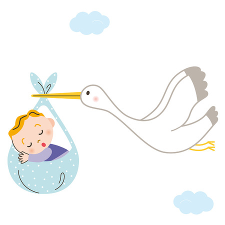 Stork baby Stock Vector - 28140478