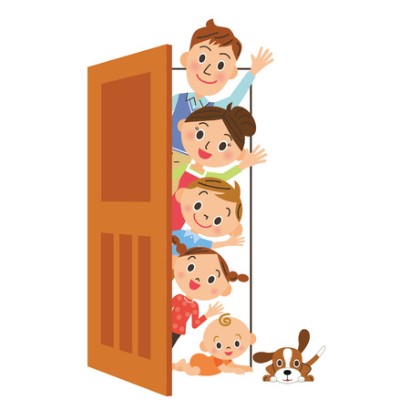 older woman smiling: door and family Illustration