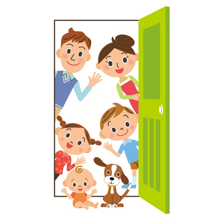 older woman smiling: The family who says hello from, door