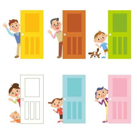 personas mayores: familia de puertas y Vectores