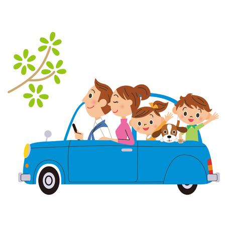 I go for a drive in, families Vector
