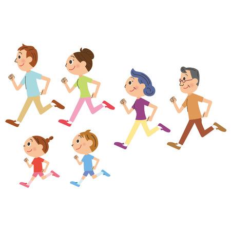 Rodzina, która biegnie Ilustracje wektorowe