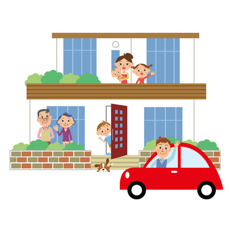 family car: A house and family