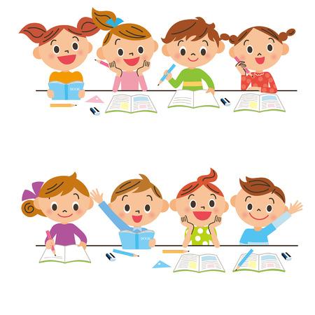 Studying children Illusztráció