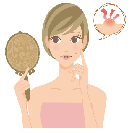 La mujer que está preocupado con un grano Foto de archivo - 28380129