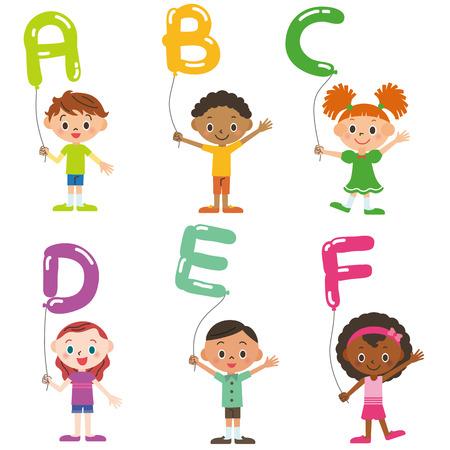 holliday: Children having the balloon of the, alphabet Illustration