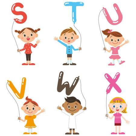 capital letter: Children having the balloon of the, alphabet Illustration