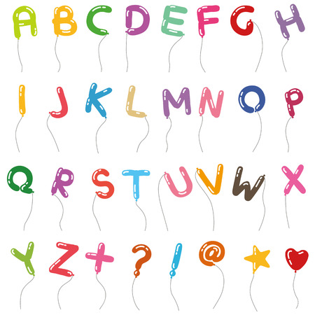 balloon alphabet style of handwriting Vector