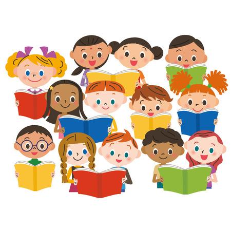 undressing: reading children Illustration