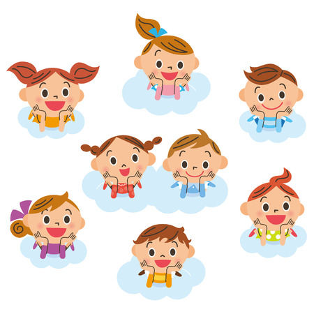 moves: Children getting on the, cloud